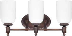 Capital Lighting Fixture Covington 9 in. 75W 3-Light Vanity Fixture in Burnished Bronze with Soft White Glass Shade C8443BB102