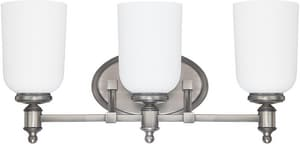 Capital Lighting Fixture Covington 9 in. 75W 3-Light Vanity Fixture with Soft White Glass Shade C8443102