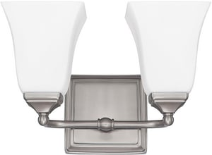 Capital Lighting Fixture Vanity 8-1/2 in. 75W 2-Light Vanity Fixture in Brushed Nickel with Soft White Glass Shade C8452BN119