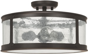 Capital Lighting Fixture Dylan 9-1/2 in. 100W 3-Light Flush Mount Ceiling Light with Antique Water Glass in Old Bronze C9567OB