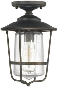 Capital Lighting Fixture Creekside 12 in. 100W 1-Light Flush Mount Ceiling Light with Seeded Glass in Old Bronze C9607