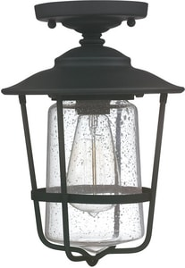 Capital Lighting Fixture Creekside 1-Light Outdoor Ceiling Fixture in Black C9607BK