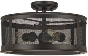 Capital Lighting Fixture Dylan 9-1/2 in. 100W 3-Light Flush Mount Ceiling Light with Bronze Brass Screen Glass in Old Bronze C9617OB