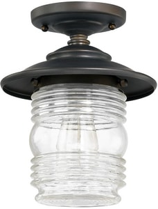Capital Lighting Fixture Creekside 10 in. 75W 1-Light Flush Mount Ceiling Light with Clear Glass in Old Bronze C9677OB