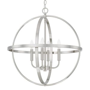 Capital Lighting Fixture HomePlace 24-1/4 in. 4-Light Candelabra E-12 Base Incandescent Pendant in Brushed Nickel C317542