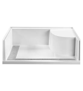 Mti Baths Designer 60 x 29-3/4 in. Rectangle Shower Base in Biscuit MTISB6030BFSEATBIL