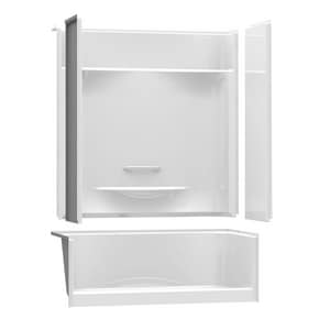 Aker Plastics KDS Series 59-7/8 x 34-1/2 in. Alcove Shower Regulator with Right Hand Seat in White 4-Piece A142042R000002