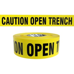 Presco Barricade Tape Yellow 3 in. x 1000 ft. - OPEN TRENCH PB3104Y3 at Pollardwater
