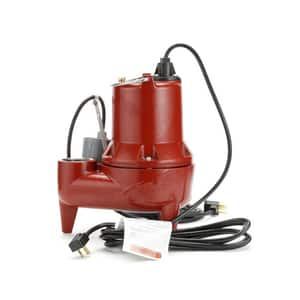 Liberty Pumps LE40 Series 4/10 HP 115V Auto Submersible Pump Wide-Angle Piggyback Float Switch 10ft Cord LLE41A