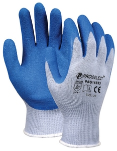 PROSELECT® Size L Latex Dipped Cotton and Plastic Chemical Resistant Gloves in Grey PSG1755 at Pollardwater