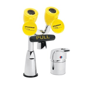 Speakman Eyesaver® 1/2 in. Counter Mount Combination Faucet and Eyewash in Polished Chrome and Yellow SSEF1800CASL