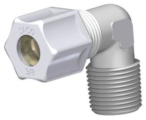 1/4 x 3/8 in. OD Tube x MPT Reducing Polypropylene Compression Elbow J4046PO at Pollardwater