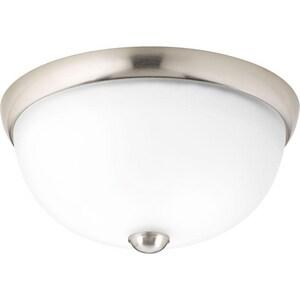 Progress Lighting Glass Domes 11 in. 75W 120V Medium E-26 Incandescent Flush Mount Ceiling Fixture in Brushed Nickel PP350043009