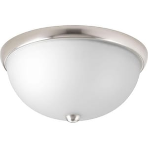 Progress Lighting Glass Domes 14 in. 75W 2-Light Incandescent Flushmount Ceiling Fixture in Brushed Nickel PP350044009