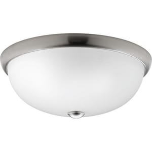Progress Lighting Glass Domes 16-1/2 in. 75W 3-Light Incandescent Flushmount Ceiling Fixture in Brushed Nickel PP350045009