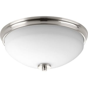 Progress Lighting Replay 14 in. 120W 2-Light Medium E-26 Incandescent Flush Mount Ceiling Light with Etched Glass in Brushed Nickel PP342309