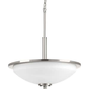 Progress Lighting Replay 16-5/8 in. 100W 3-Light Medium E-26 Incandescent Pendant in Brushed Nickel PP345009