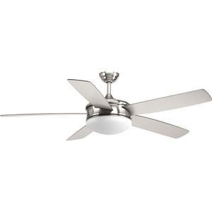 Progress Lighting Fresno 17-1/4 in. 18W 5-Blade Ceiling Fan with 60 in. Blade Span and LED Light in Brushed Nickel PP25480930K