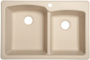 Franke Ellipse 33 x 22 in. 1 Hole Composite Double Bowl Dual Mount Kitchen Sink in Champagne FEOCH332291