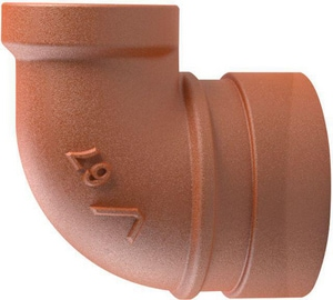 Victaulic Vic®-End II No. 67 1-1/4 x 1 in. Grooved x FNPT Orange Enamel Ductile Iron 90 Degree Reducing Sprinkler Elbow VFB05067P00