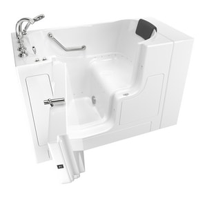 American Standard 109 Premium Series 52 x 30 in. 26-Jet Gelcoat and Fiberglass Rectangle Built-In 3-Wall Alcove Bathtub with Left Drain in White with Polished Chrome A3052OD109ALWPC