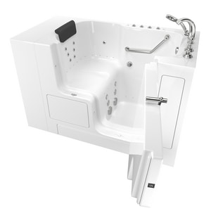 American Standard 109 Premium Series 52 x 32 in. 38-Jet Gelcoat Rectangle Built-In Bathtub with Right Drain in White with Polished Chrome A3252OD109CRWPC