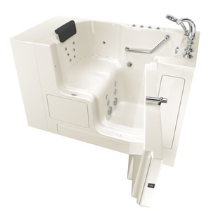 American Standard 109 Premium Series 52 x 32 in. 38-Jet Gelcoat Rectangle Built-In Bathtub with Right Drain in Linen with Polished Chrome A3252OD109CRLPC