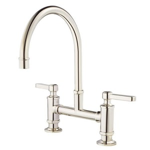 Pfister Port Haven™ 2-Hole Bridge Kitchen Faucet with Double Lever Handle in Polished Nickel PGT31TDD