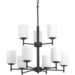 Progress Lighting Replay 25-1/2 in. 900W 9-Light Medium E-26 Incandescent Chandelier in Black PP4726