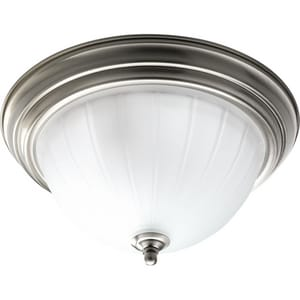 Progress Lighting Melon Glass 13-1/4 in. 13W 2-Light Flushmount Ceiling Fixture with Melon Glass in Brushed Nickel PP370309WB