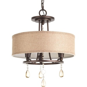 Progress Lighting Flourish 17-1/2 in. 60W 3-Light Semi-Flush Mount Ceiling Fixture in Cognac PP371072