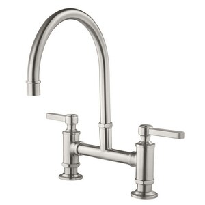 Pfister Port Haven™ 2-Hole Bridge Kitchen Faucet with Double Lever Handle in Stainless Steel PGT31TDS
