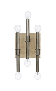 Capital Lighting Fixture Gavin 60W 6-Light Candelabra E-12 Incandescent Wall Sconce in Iron with Gold C621461IG