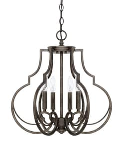 Capital Lighting Fixture Sinclair 240W 4-Light Candelabra E-12 Incandescent Foyer Lighting in Renaissance Brown C517441RB