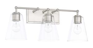 Capital Lighting Fixture Vanity 100W 3-Light Vanity with Clear Glass in Brushed Nickel C121731431