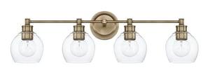 Capital Lighting Fixture Mid-Century 100W 4-Light Incandescent Vanity Fixture in Aged Brass C121141AD426