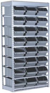 Mustang Rack 15 x 34 x 64-1/2 in. Commercial Bin Rack with Plastic Bin in Grey RSRBIN