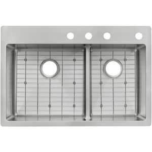 Elkay Crosstown® 33 x 22 in. 4 Hole Stainless Steel Double Bowl Drop-in and Undermount Kitchen Sink EECTSRAO33229BG4