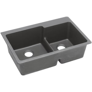 Elkay Quartz Classic® 2-Bowl Self-rimming or Drop-in Kitchen Sink in Greystone (Less Hole) EELGLBO3322GS0