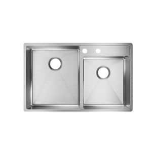 Elkay Crosstown® 32-1/2 x 20-1/2 in. 2-Hole 2-Bowl Undermount 304 Stainless Steel Kitchen Sink with Rear Center Drain in Polished Satin EECTRUD31199R2