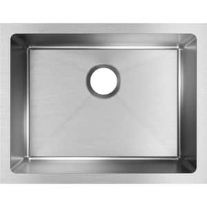 Elkay Crosstown® 23-1/2 x 18-1/4 in. No Hole Stainless Steel Single Bowl Undermount Kitchen Sink in Polished Satin EEFRU211510T