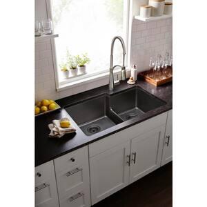 Elkay Quartz Classic® 33 x 20-1/2 in. Composite Double Bowl Undermount Kitchen Sink in Greige EELGULBO3322GR0