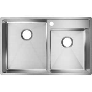 Elkay Crosstown® 32-1/2 x 20-1/2 in. 1-Hole 2-Bowl Undermount 304 Stainless Steel Kitchen Sink with Rear Center Drain in Polished Satin EECTRUD31199R1