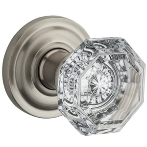 Baldwin Crystal Full Dummy Door Knob in Satin Nickel B9BR35120