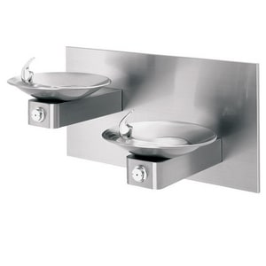 Haws Double Wall Mount Drink Fountain in Satin Stainless Steel H1011