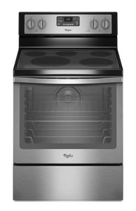 Whirlpool 47-7/8 x 29-7/8 in. 6.4 cf Electric Freestanding Range in Black on Stainless WWFE540H0ES