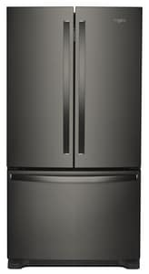 Whirlpool 35-5/8 in. 20 cf Freestanding Counter Depth French Door Refrigerator in Black Stainless WWRF540CWHV