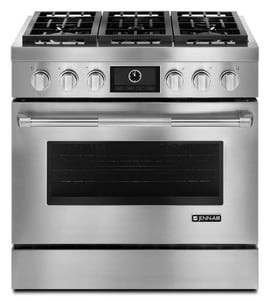 Jennair MultiMode® 5.1 CF 36 in. Diamond Finish Free Standing Range With 6-Burner in Pro-Style® Stainless JJDRP436WP