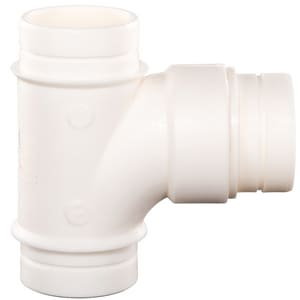 Orion Fittings R90T 3 in. No-Hub Plain End Straight and Sanitary PVDF Tee in Cream O723212