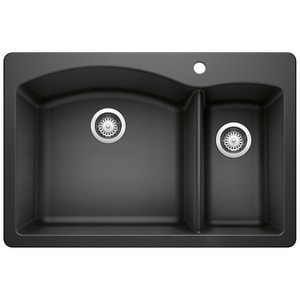 Blanco America Diamond™ 33 x 22 in. 1 Hole Composite Double Bowl Drop-in Kitchen Sink in Anthracite B440199